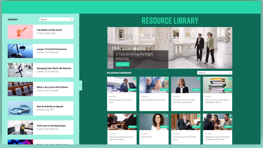 Beispiel für einen Content-Hub von on24.